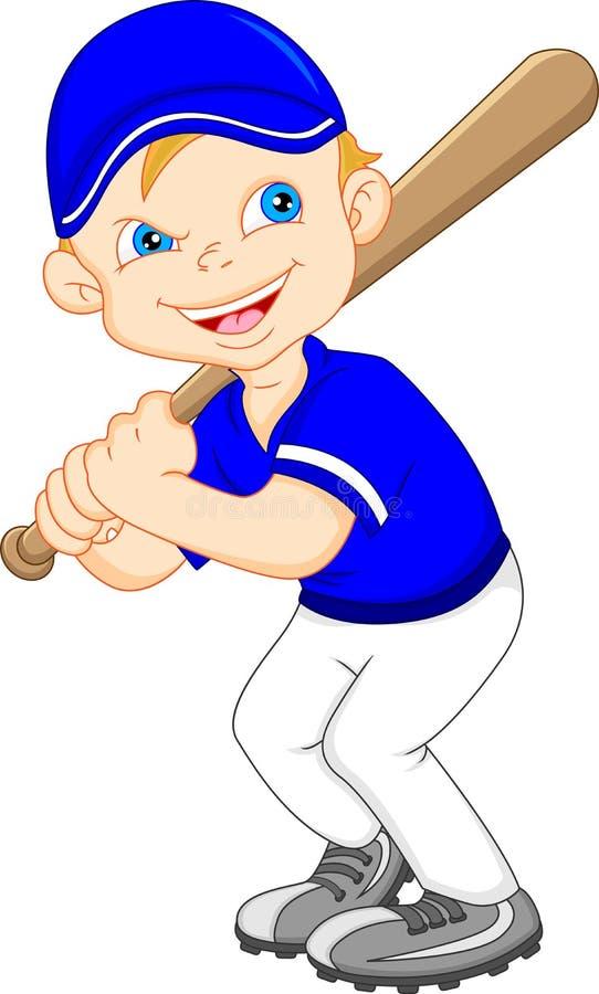 Joueur de baseball de bande dessinée de garçon illustration libre de droits