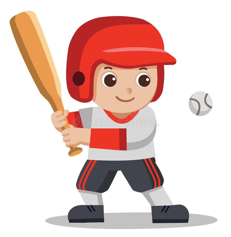 Joueur de baseball frappant la boule avec la batte en bois illustration stock