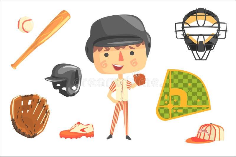 Joueur de baseball de gar?on, future illustration professionnelle r?veuse de profession d'enfants avec connexe aux objets de prof illustration de vecteur