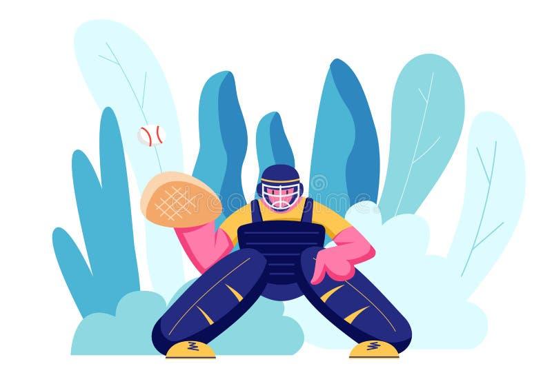 Joueur de baseball professionnel de sportif dans l'action sur la boule de attente de stade du broc Receveur masculin dans l'unifo illustration stock