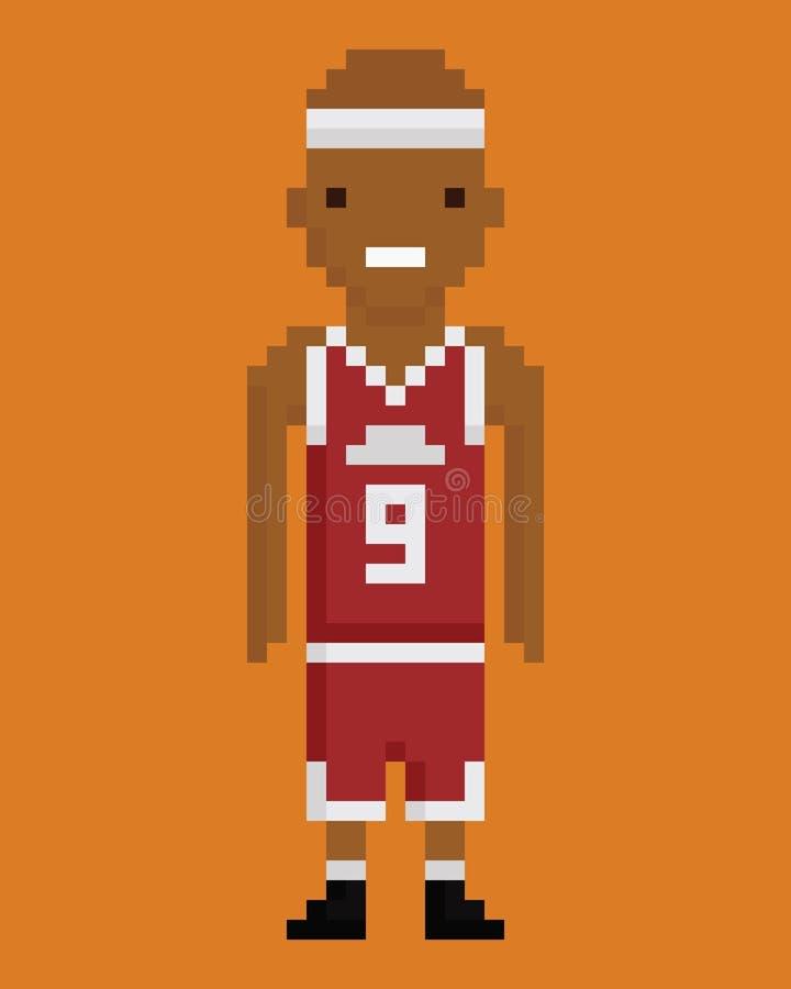 Joueur de basket d'homme de couleur de style d'art de pixel jeune illustration stock