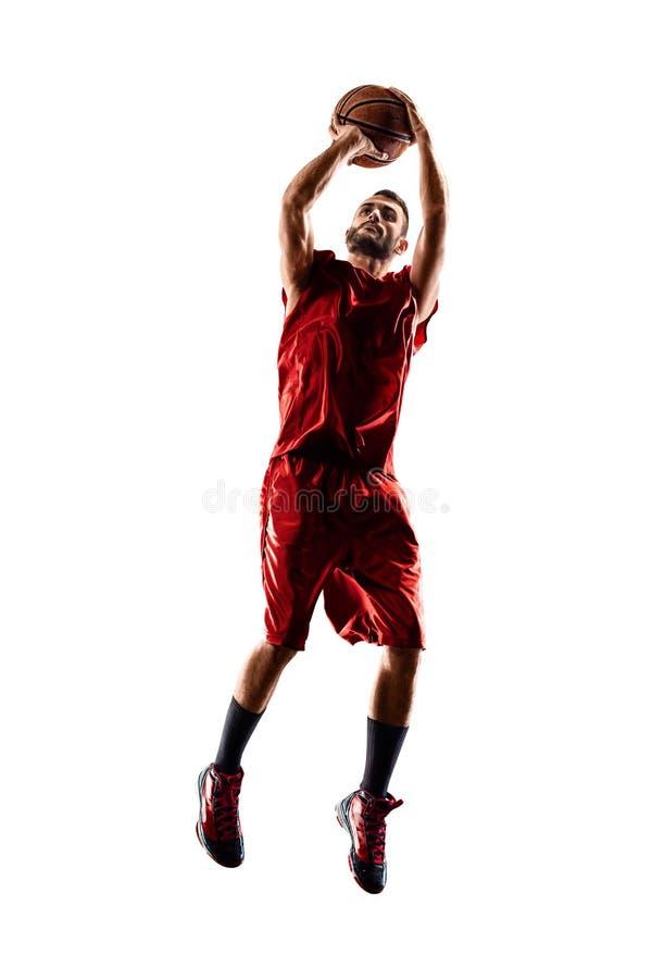 Joueur de basket dans l'action d'isolement sur le blanc photo stock