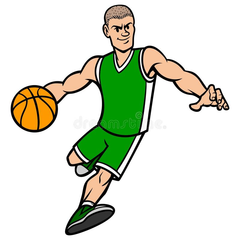 Joueur de basket ruisselant un basket-ball illustration stock