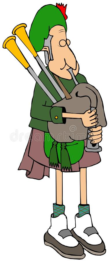 Joueur de cornemuse écossais utilisant un kilt illustration stock