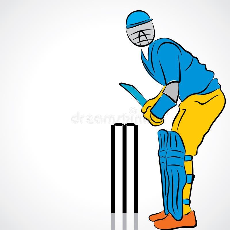 joueur de cricket   illustration de vecteur