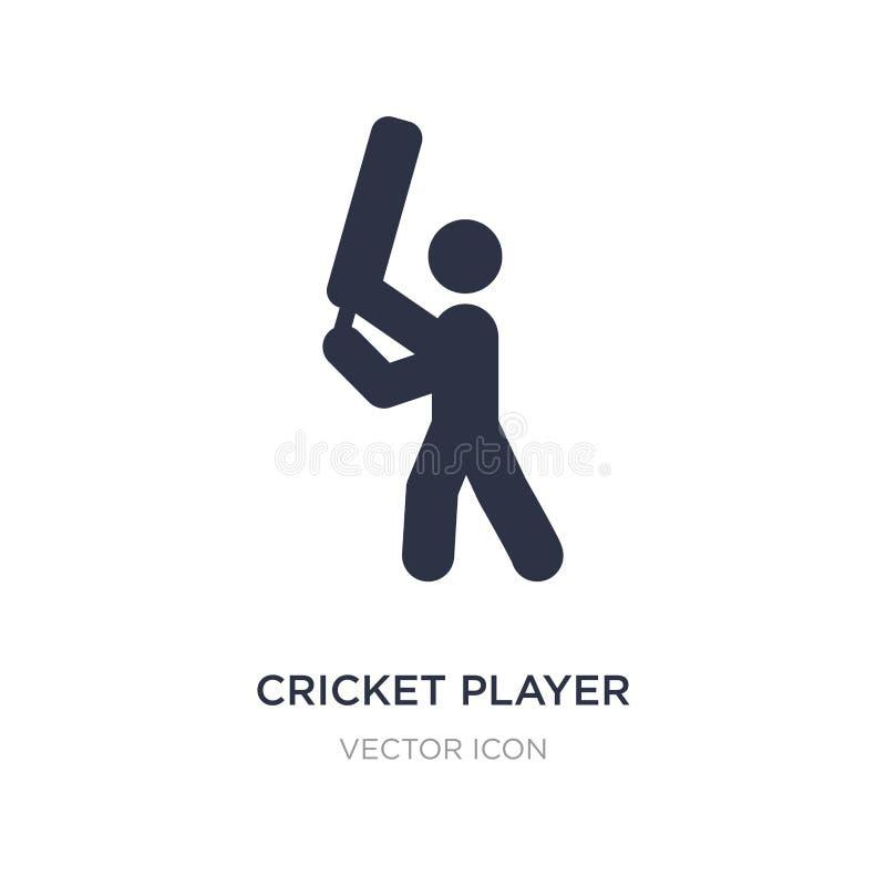 joueur de cricket avec l'icône de batte sur le fond blanc Illustration simple d'élément de concept de sports illustration libre de droits