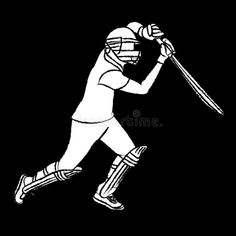 Joueur de cricket frappant le gros poisson illustration de vecteur
