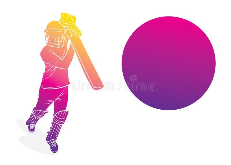 Joueur de cricket frappant le gros poisson illustration libre de droits