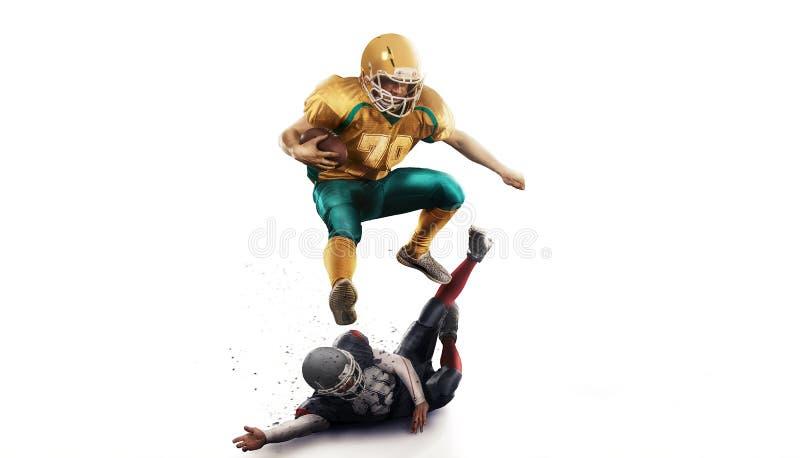 Joueur de football américain dans le blanc d'isolement par action image stock