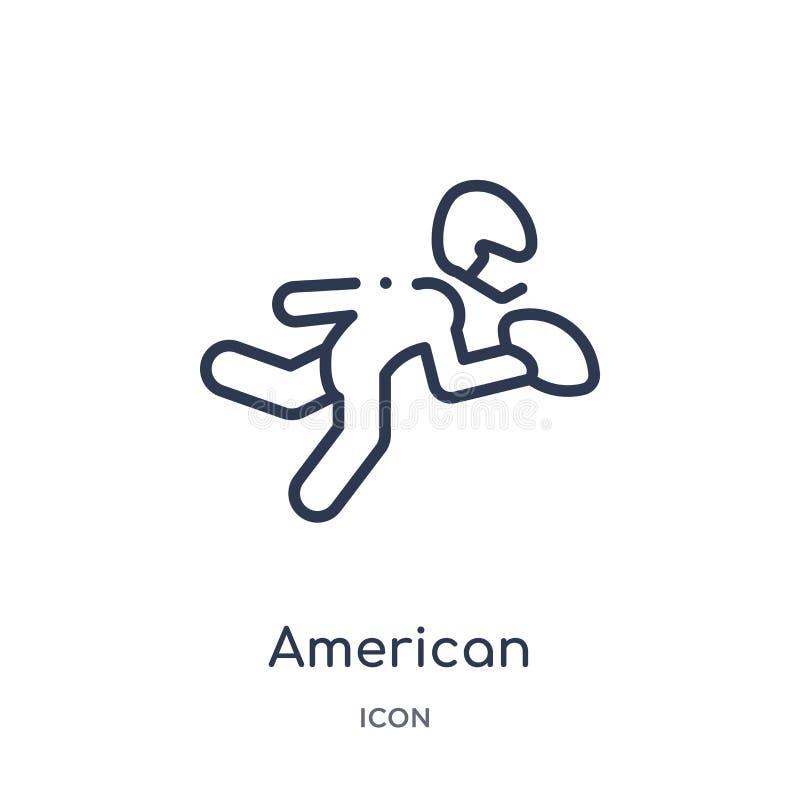 joueur de football américain sélectionnant l'icône de boule de la collection d'ensemble de sports Ligne mince joueur de football  illustration libre de droits