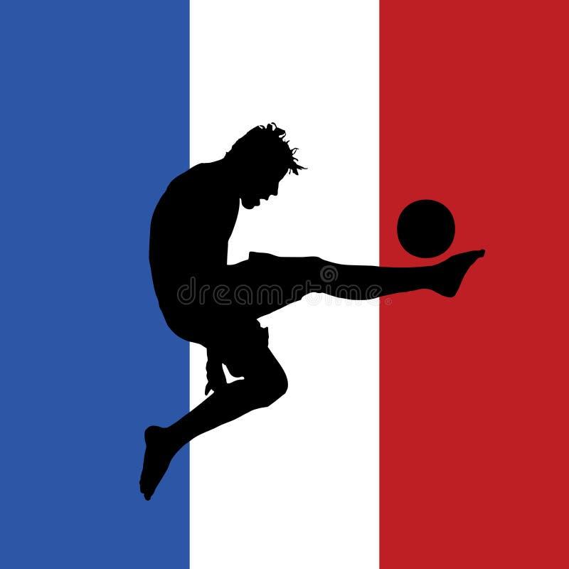 Joueur de football avec l'indicateur français à l'arrière-plan illustration de vecteur