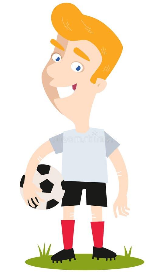 Joueur de football caucasien blond de bande dessinée tenant le football sous son bras d'isolement sur le Ba blanc illustration stock