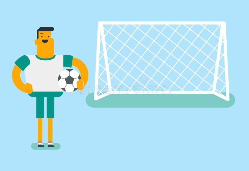 Joueur de football caucasien se tenant avec une boule illustration stock