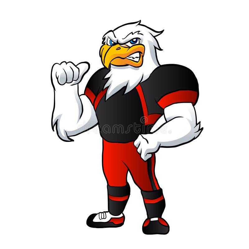 Joueur de football de faucon de bande dessinée illustration de vecteur