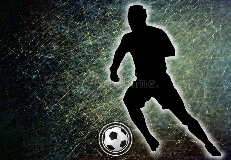 Joueur de football donnant un coup de pied une boule, illustration illustration libre de droits