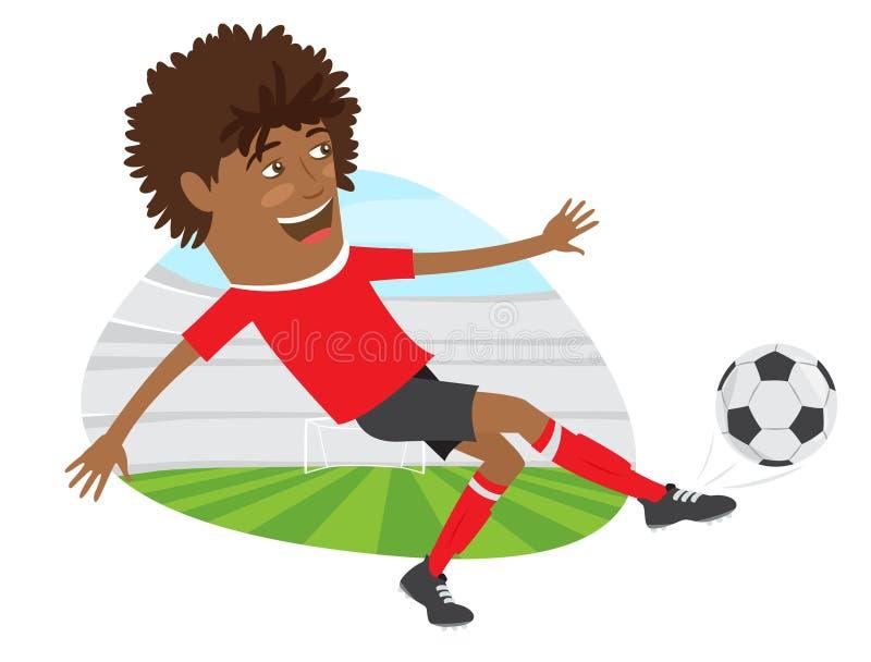 Joueur de football drôle du football d'Afro-américain portant le t-shir rouge illustration stock