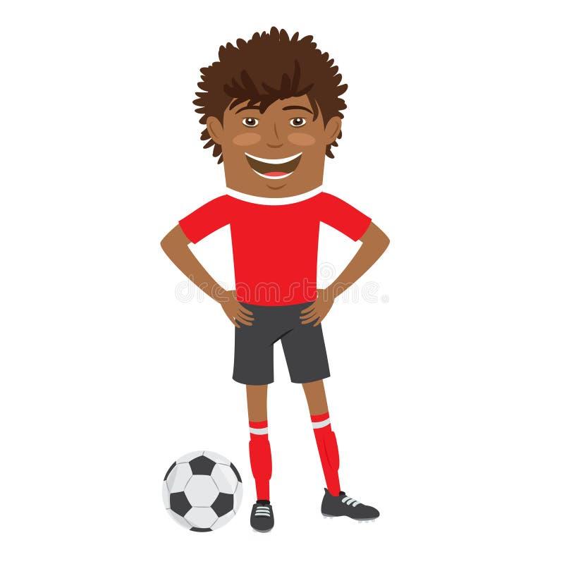 Joueur de football drôle du football d'Afro-américain portant le t-shir rouge illustration libre de droits