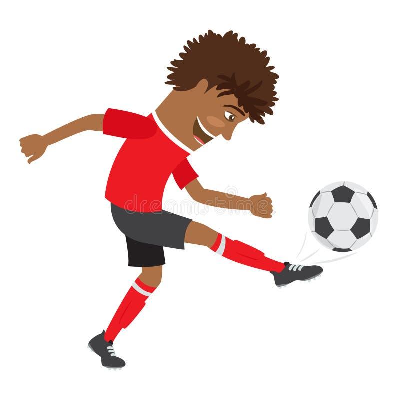 Joueur de football drôle du football d'Afro-américain portant le t-shir rouge illustration de vecteur