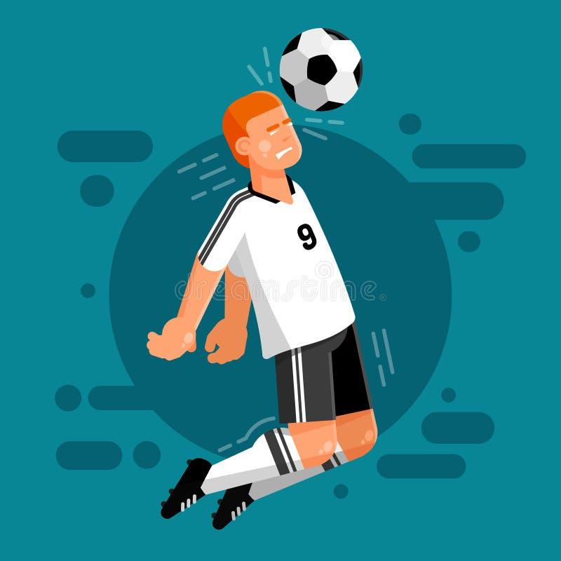 Joueur de football de l'équipe nationale allemande dans des uniformes blancs et noirs illustration stock
