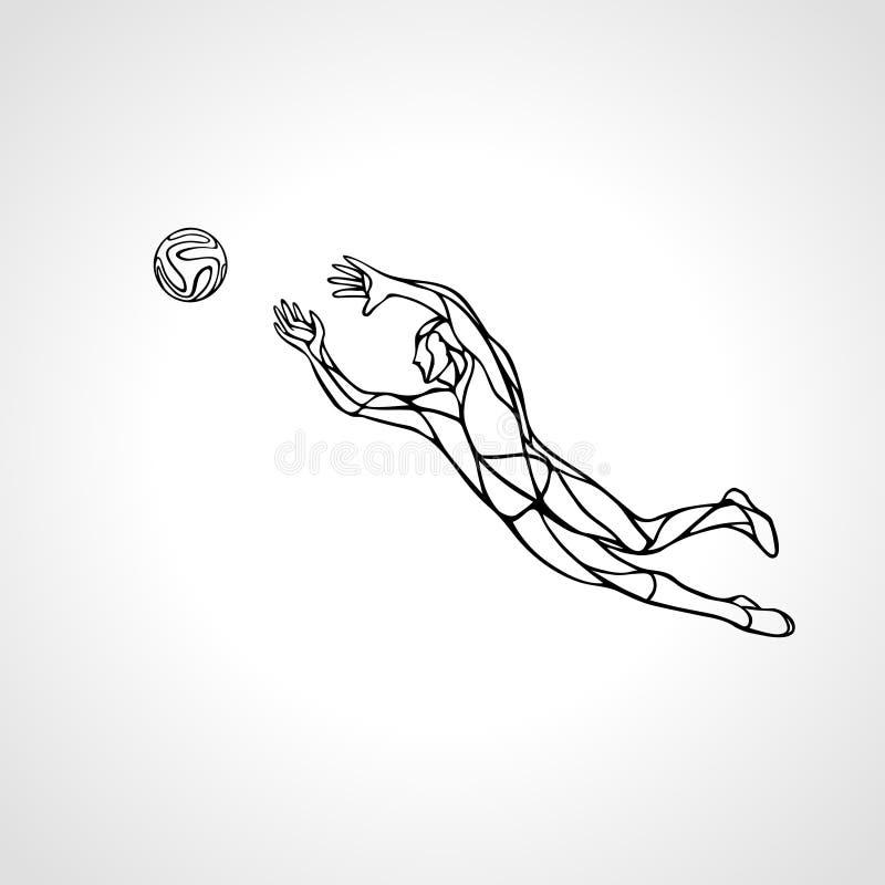 Joueur de football ou de football, gardien de but, silhouette de sportif illustration stock