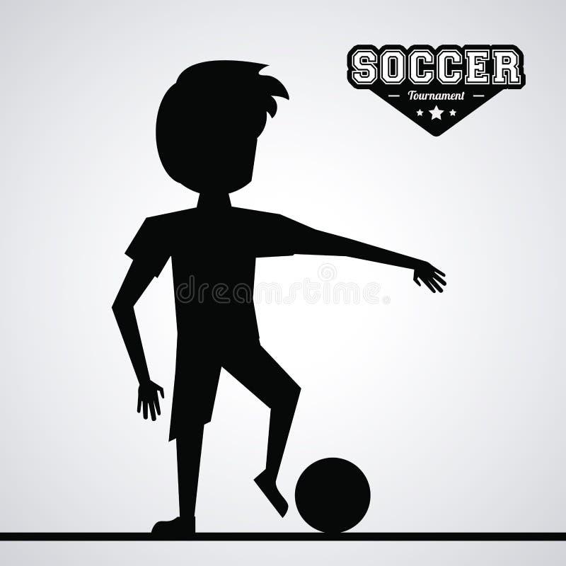 Joueur de football sans visage d'athlète de silhouette noire illustration libre de droits