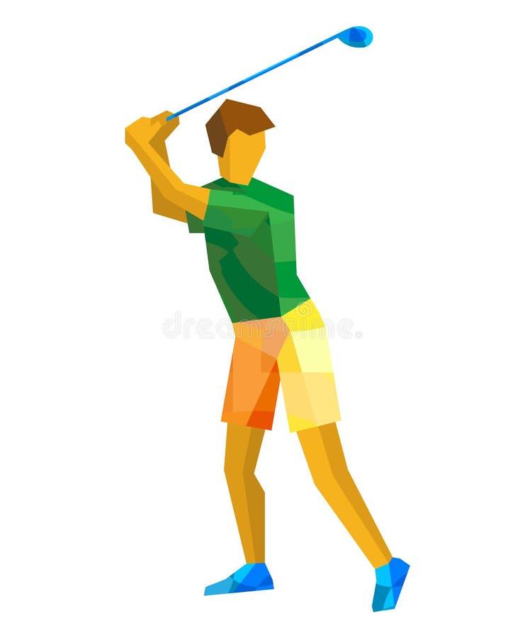 Joueur de golf avec les modèles verts et jaunes illustration libre de droits