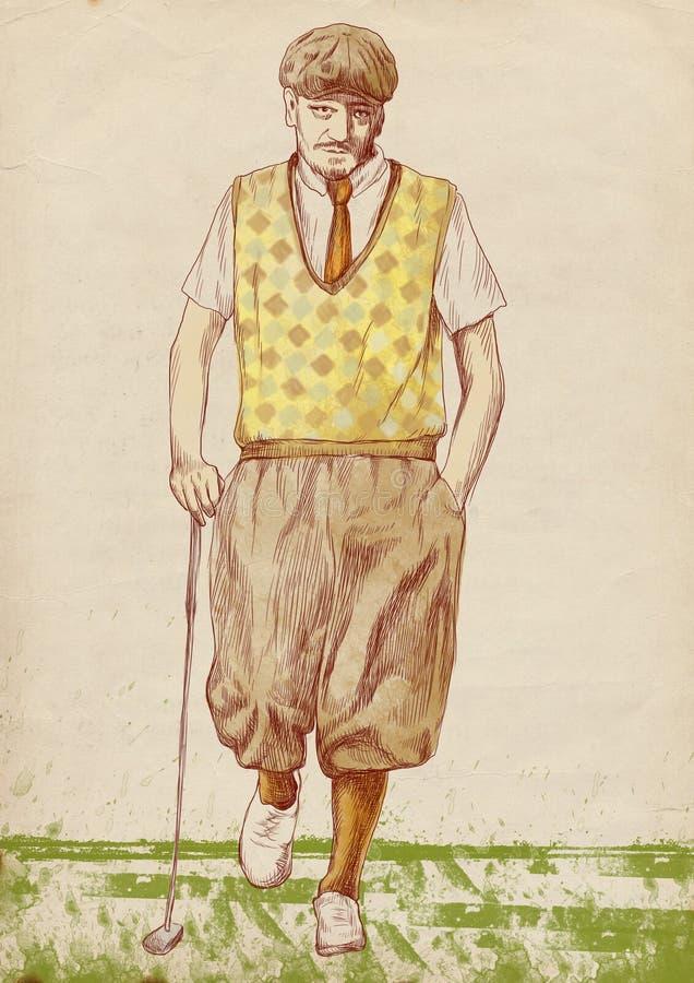 Joueur de golf - homme de cru illustration de vecteur