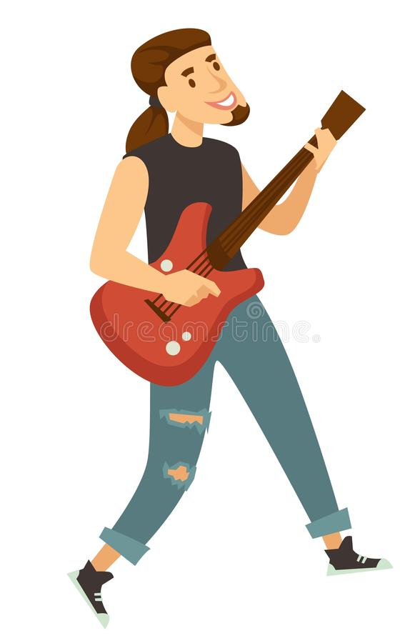 Joueur de guitare de balancier ou personnage masculin d'isolement par musicien illustration de vecteur