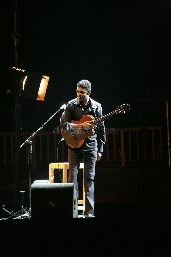 Joueur de guitare sur l'étape photographie stock