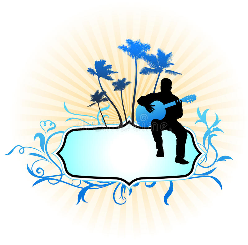 Joueur de guitare sur le fond abstrait de trame illustration de vecteur