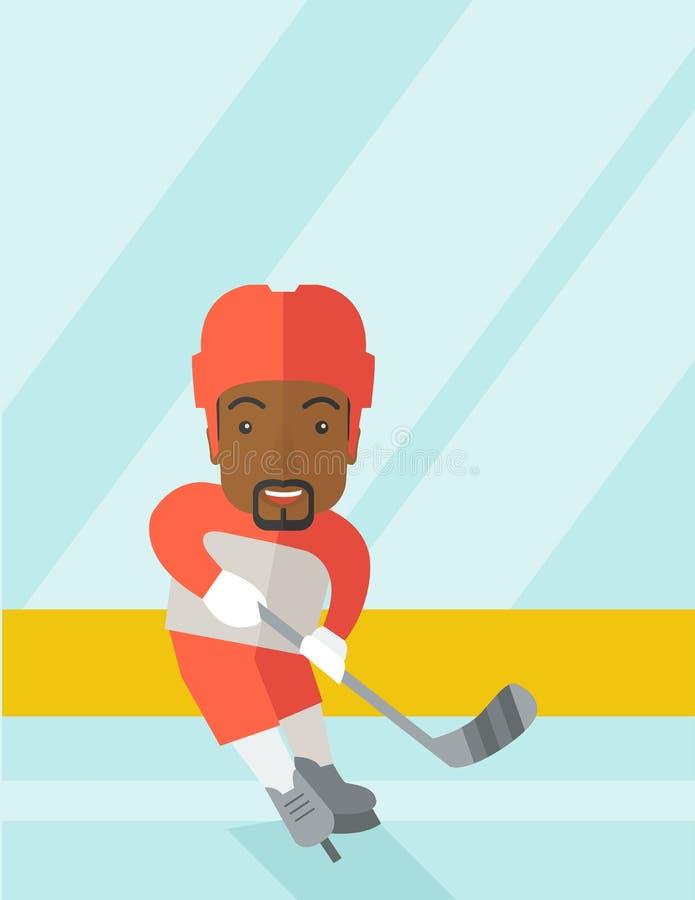Joueur de hockey à la piste illustration de vecteur