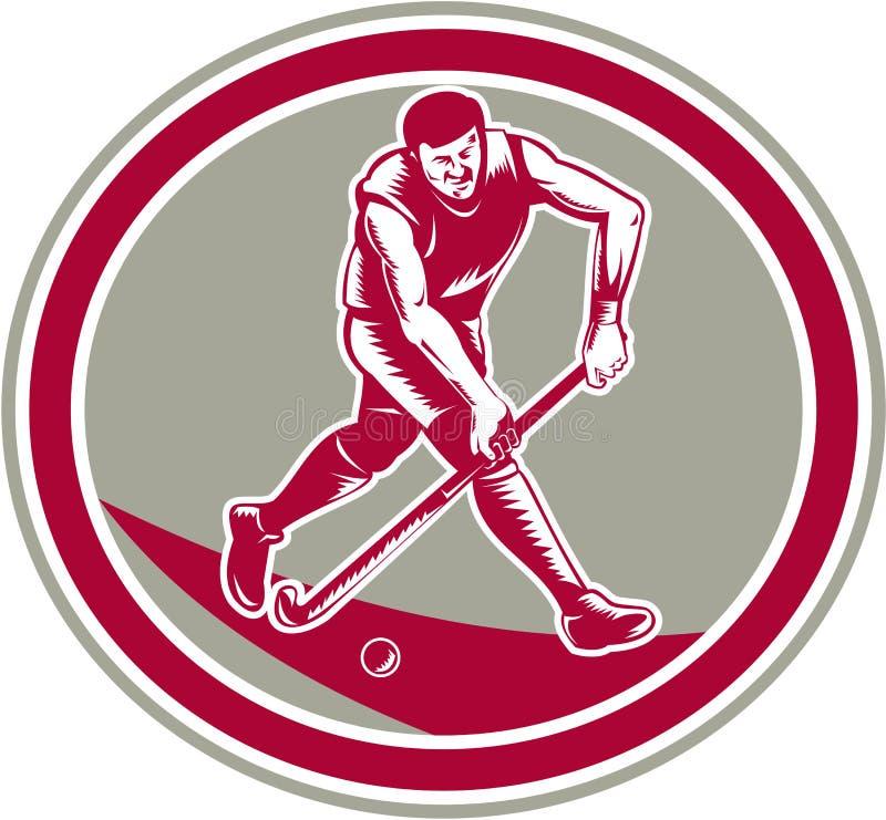 Joueur de hockey de champ fonctionnant avec le bâton rétro illustration stock