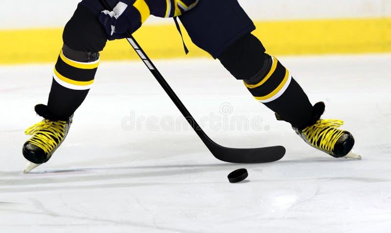 Joueur de hockey de glace sur la piste photo libre de droits