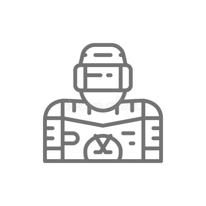 Joueur de hockey de glace, ligne icône de gardien de but illustration de vecteur