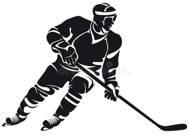 Joueur de hockey, silhouette illustration stock