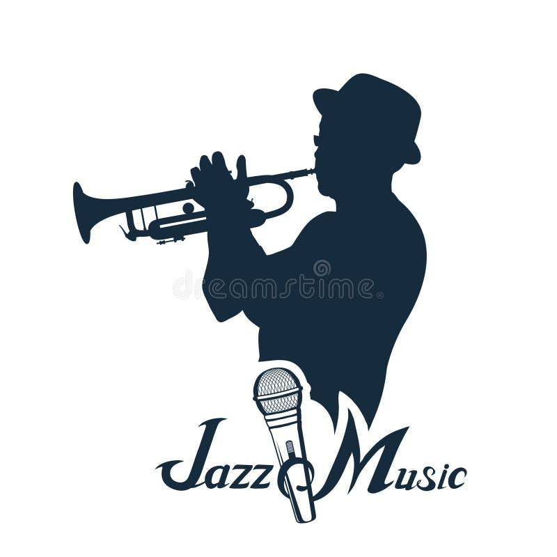Joueur de jazz avec la trompette illustration de vecteur