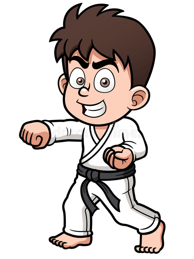 Joueur de karaté de garçon illustration stock