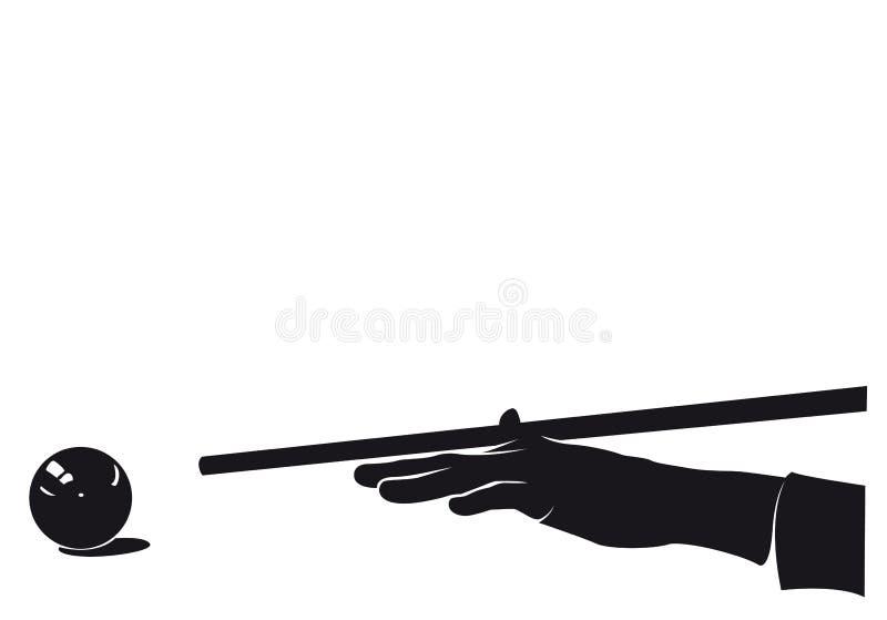 Joueur de main de billards avec la silhouette de boule, d'isolement photo stock