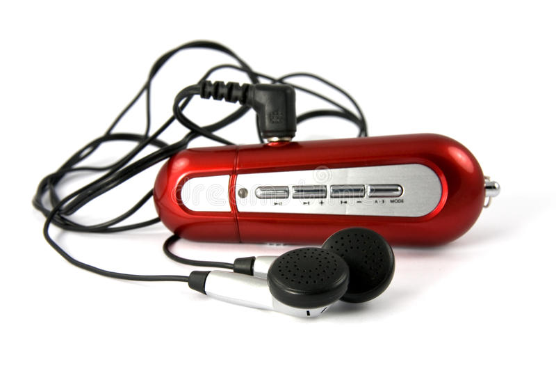 Joueur de musique portatif rouge images stock