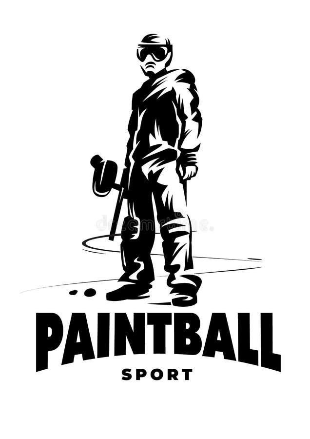Joueur de paintball avec pistolet illustration stock