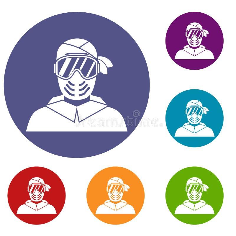 Joueur de Paintball portant des icônes de masque protecteur réglées illustration libre de droits