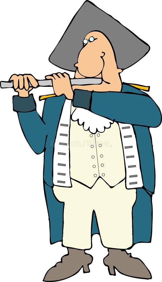Joueur de pipeau révolutionnaire américain de guerre illustration stock
