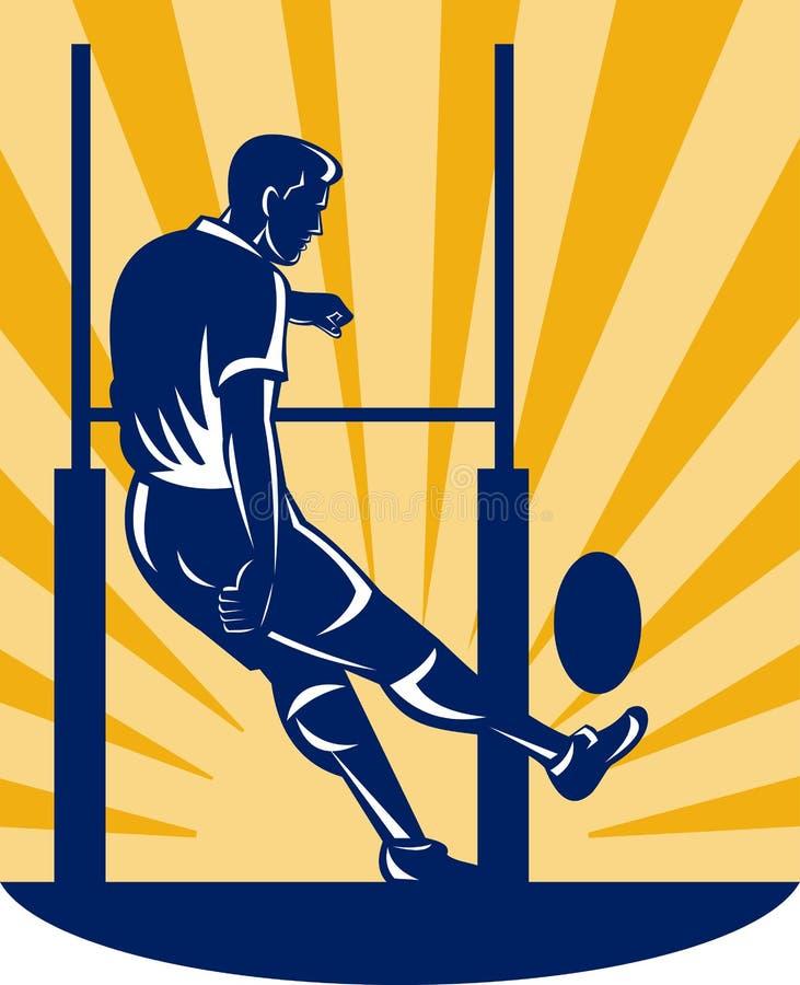 Joueur de rugby donnant un coup de pied le poteau illustration stock illustration du union - Dessin de joueur de rugby ...