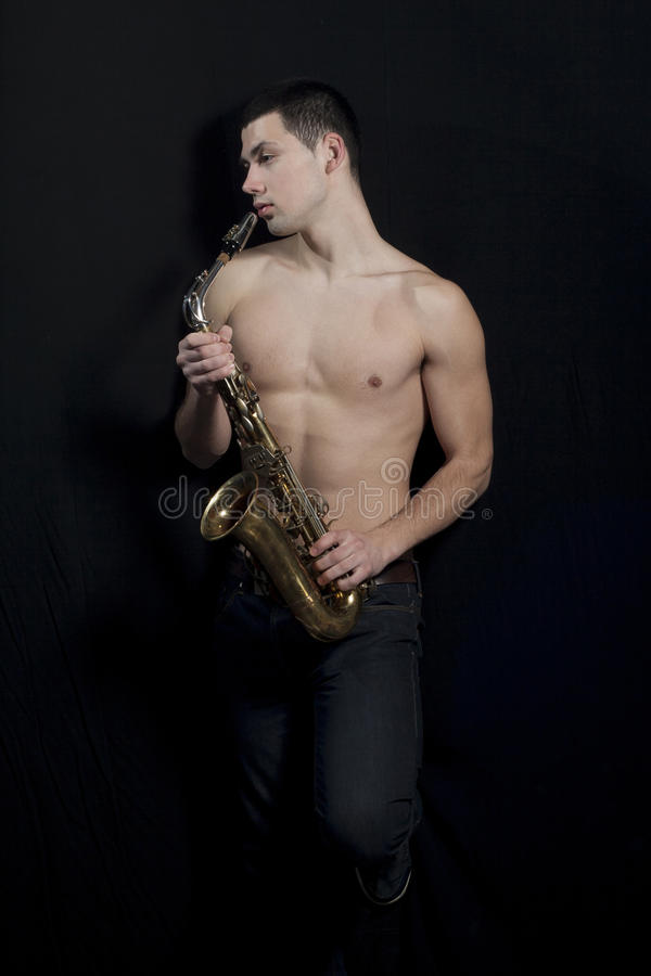 Joueur de saxophone. images stock