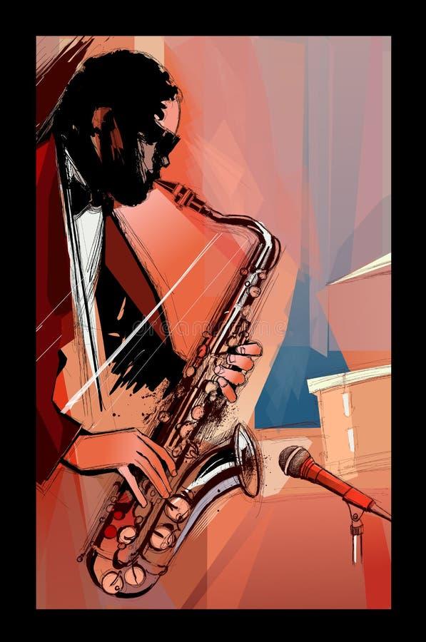 Joueur de saxophone sur le fond grunge illustration de vecteur