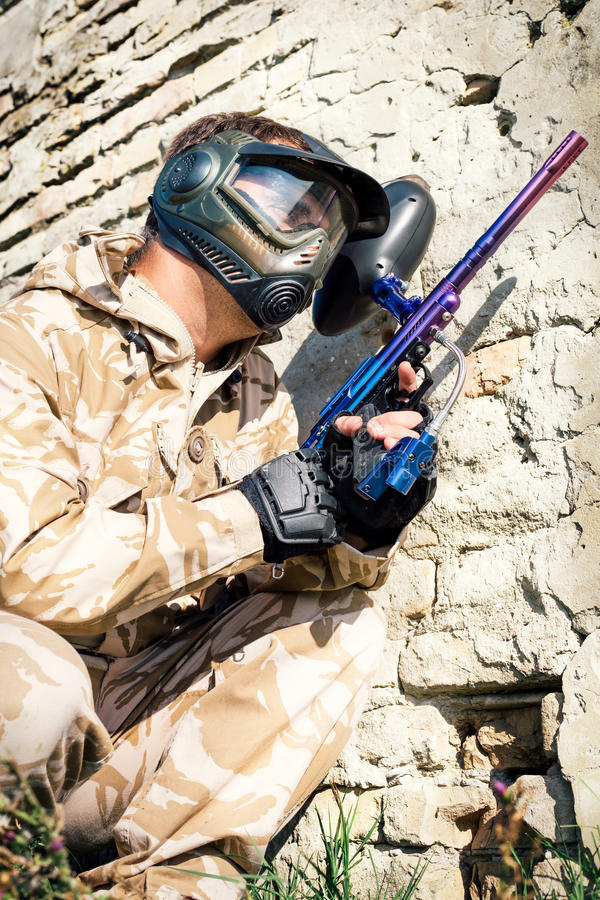 Joueur de sport de Paintball photo libre de droits