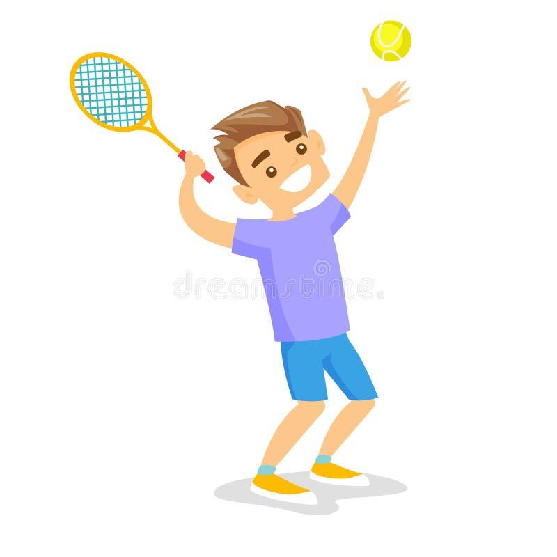 Joueur de tennis blanc caucasien jouant le tennis illustration de vecteur