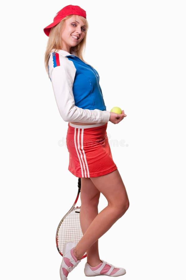 Joueur de tennis caucasien attirant de femme d'années '20 photo stock