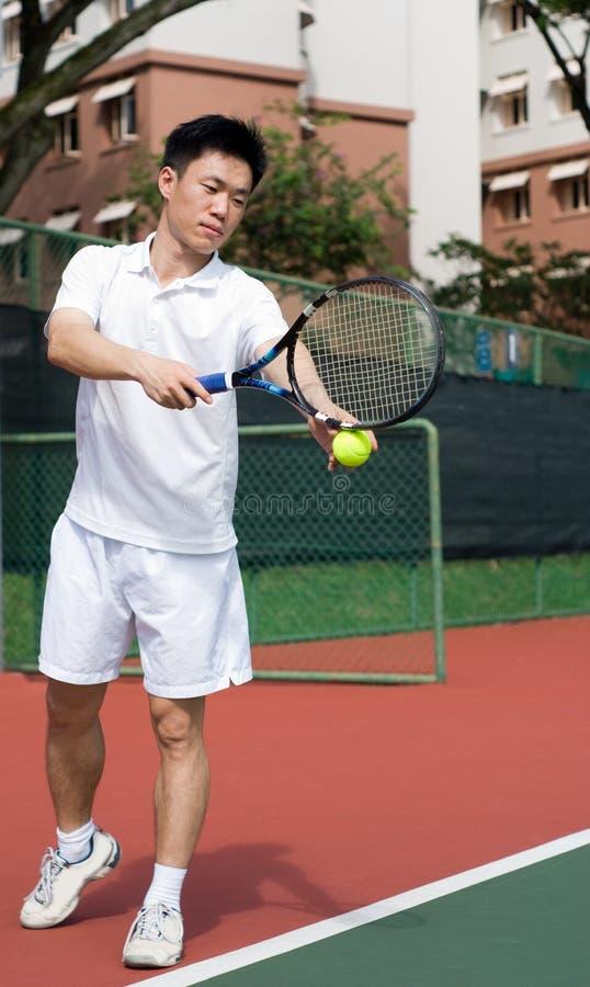 Joueur de tennis d'Aisan images stock