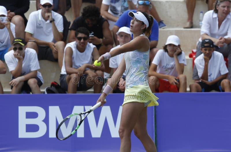 Joueur de tennis de dessus de Garbine Muguruza jouant en Majorque ouverte photo libre de droits